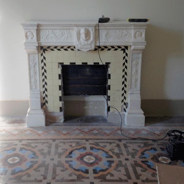 MosaicosBarcelona | Recuperacion de chimenea de marmol Barcelona