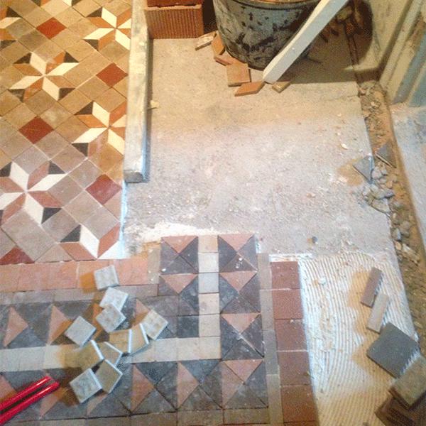 MosaicosBarcelona | Montaje de pavimento nolla recuperado Barcelona