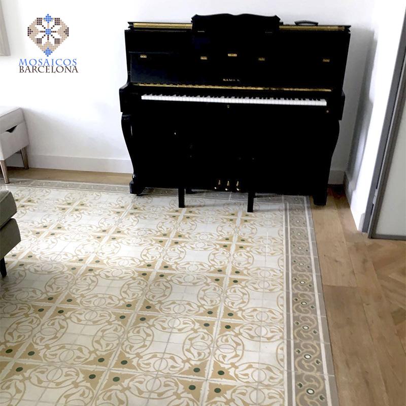 MosaicosBarcelona-Suelos-hidraulicos-originales-con-cenefas-restauradas-y-abrillantadas-en-vivienda-de-Barcelona