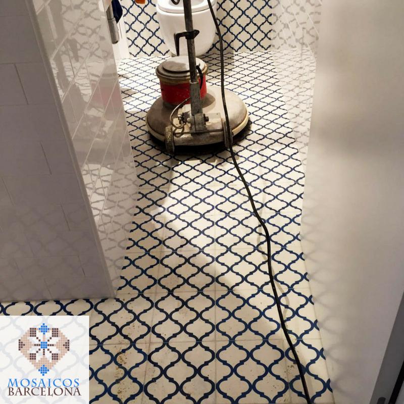 MosaicosBarcelona Pulimento y abrillantado de suelos de mosaico hidraulico original en vivienda de barcelona